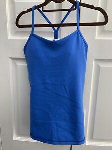 Lululemon Blue POWER Y TANK Yoga Top Removable Bra Sz 6 Run Sport Gym NWT