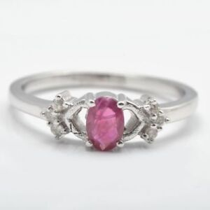Oval Cut Natural Ruby Gemstone 925 Sterling Silver Eternity Ring Jewelry