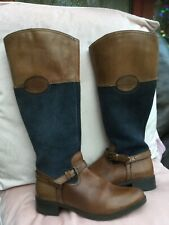 Ladies Heritage handmade tan leather/grey suede boots size 4 (37)
