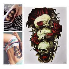 Waterproof Skull and Rose Temporary Tattoo Large Arm Body Art Tattoos Sticker