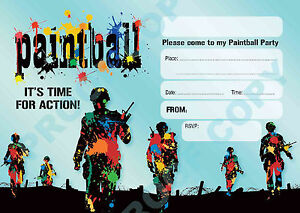 #56 PAINTBALL PARTY Pack of 10 kids children birthday party INVITATIONS
