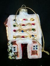Cottage Christmas Ornament Edged in White Glitter