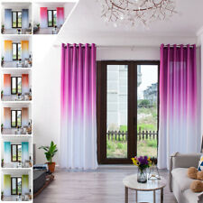 Simple Solid Gradient Color Bedroom Eyelet Ring Top Window Curtain Wall Panel US