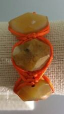 "Handmade Orange Satin Macrame and Semi Precious Faceted Nugget 6.5"" Bracelet"