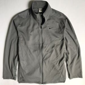 Nike Fit FitDry Men's Large Full-Zip Long Sleeve Gray Running Top Jacket 2008