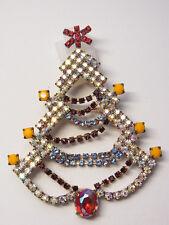Christbaum Strass Brosche Weihnachtsbaum Christmas tree Brooch Gablonz Nr.83