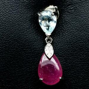 4.90ct Madagascan Ruby, Sky Blue & White Topaz Pendant in 925 Sterling Silver