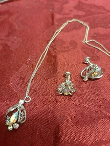 Sterling Silver & AB Glass Vintage Necklace & Earrings Set
