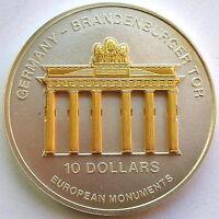 Nauru 2002 Brandenburgertor 10 Dollars 1oz Gild Silver Coin,Proof