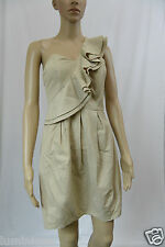 **FORCAST** One Shoulder Ruffled Cocktail Dress 8 S Nude Beige Evening Party HOt