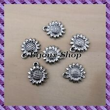 50 Perles breloque Fleur de tournesol CCB  20mm