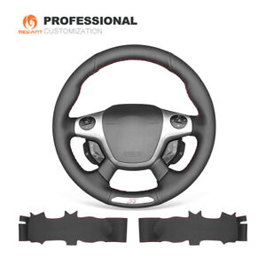Black Genuine Leather Steering Wheel Cover Wrap for Ford Focus 3 ST 2012-2014