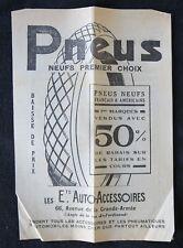 Brochure publicitaire 1920 PNEU AUTO-ACCESSOIRES automobile automobilia