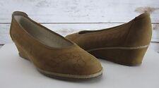 SILVIA Vera Pelle Womens US 8 EU 39 Brown Nubuck Leather Wedge Heels Comfort