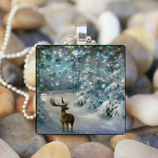 Christmas Snow Animal Deer Art Cabochon Glass Tile Chain Pendant Necklace Tibet