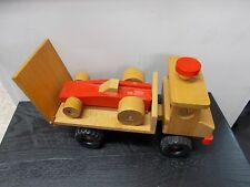 Vintage WOOD CRAFTED TOY TRUCK WITH TRAILER AND RACE CAR