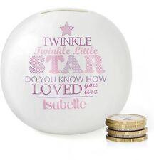 Personnalisé Rose Twinkle Twinkle Filles Tirelire, Cadeau De Baptême