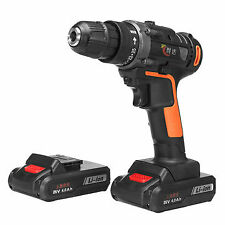 25V 4000mAh Cordless Rechargeable Power Drill Driver 2 Li-ion Batteries