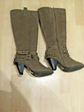 Knee High Heel Boots Stud Blocked Heel Boots UK 7 EUR40 Colour Olive Grey