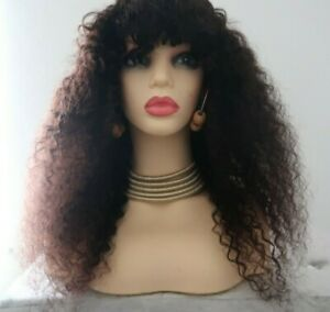 thick ombre 20inch long wavy afro kinky yaki deep thick curly Human Hair Wig