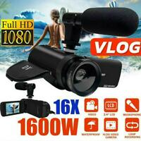 1080P HD Zoom Digital Camcorder Video  Camera DV Recorder External Microphone