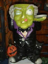 """Vintage Plaster Mache Halloween Greater Butler Trick Or Treat Candy Server 24"""" T"""