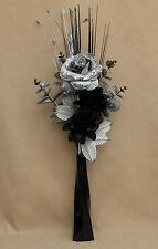ARTIFICIAL SILK SILVER GLITTER ROSE WITH BLACK FLOWERS IN BLACK TWIST VASE