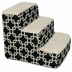 3 Step Portable Pet Stairs By Majestic Pet Products Black Links Steps for Cat...