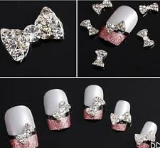 DIUS Lot 10Pcs 3D Clear Alloy Rhinestone Bow Tie Nail Art Slices Diy Decorations