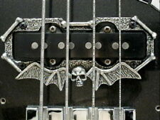 2 SKULL PICKUP RINGS fits fender jazz bass guitar solid metal & hand made!!