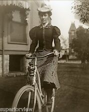 Antique Bicycle Woman Plaid Skirt Vintage Bike Lantern Hat With Feather 1897