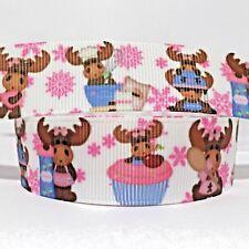 "GROSGRAIN RIBBON 7/8"" Christmas Moose Snowflakes  ( FREE SHIPPING )"