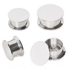 PAIR-Solid Steel Stash Screw On Ear Plugs 03mm/8 Gauge Body Jewelry