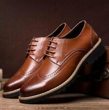 Chic Men Wing Tip Round Toe Dress Lace Up Formal Business Brogues Oxfords Shoes