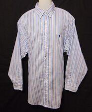 RALPH LAUREN Yarmouth Mens Dress Shirt 17.5 34/35 Striped Button Down Collar