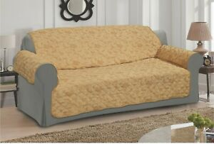 BEIGE SOFA - SETTEE SLIP COVER / PET PROTECTOR (QUILTED) FLORAL DESIGN
