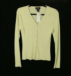 Finity Women's Beige Cardigan Sweater Ribbed pebble Size PXL