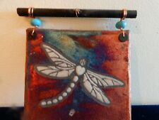 Raku Dragonfly Decorative Hanging Plaque