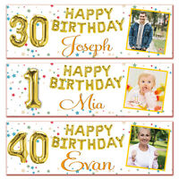 2 personalised birthday banner photo gold foil balloon party poster decoration