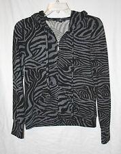Iris Basic Juniors Size XL Black Grey Animal Print Zip Up Hooded Sweatshirt