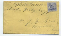 1870 Whiteland IN manuscript on 3ct 1869 #114 cover [y3625]