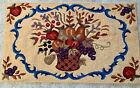 """Vtg HANDMADE Floral Fruit Basket HOOKED RUG  WOOL Multi Color on Beige 48"""" X 24"""""""