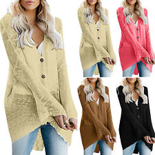 Womens Cardigan Coats Ladies Long Sleeve Knitted Sweater Jackets Outwear Baggy