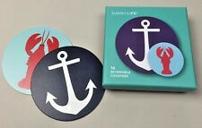 NIB Sunny Life Coastal Lobster Anchor 16 Reversible Coasters Set