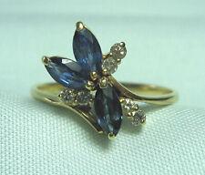 14K Gold Ring w 3 Sapphires & 6 Diamonds  2.3 grams size 7
