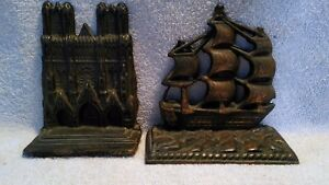 2 Antique Cast Iron Bookends USA Constitution and The Notre Dame Cathedral