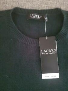 Lauren Ralph Lauren Women's Green Pullover Sweater M Cotton Lambs Wool Blend NEW