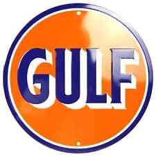 Gulf Embossed Metal Novelty Round Sign Gas and Oil Ad