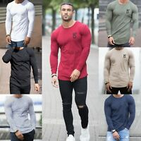 BBH Mens Gym T shirt Longline Slim Muscle Fit Long Sleeve Plain Curved Hem Tee