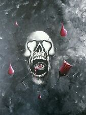 Love's Wrath 16x20 Acrylic on stretched canvas. Skull, rose and blood-series